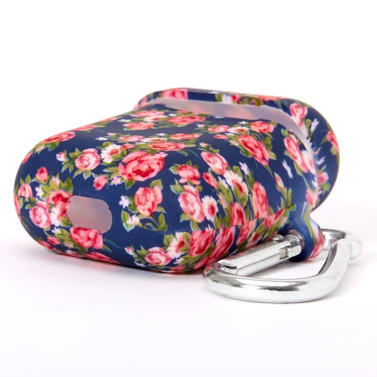 Navy Floral Silicone Earbud Case Cover - Compatible With Apple AirPods,