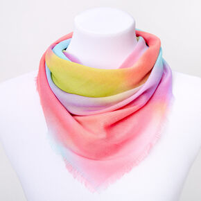 Square Rainbow Tie Dye Fashion Scarf,