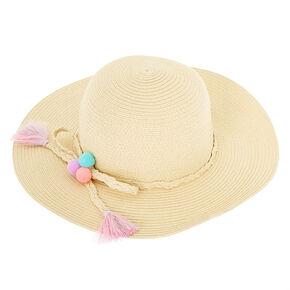 15eaf72f759 Claire s Club Pom Pom Floppy Straw Hat - Tan