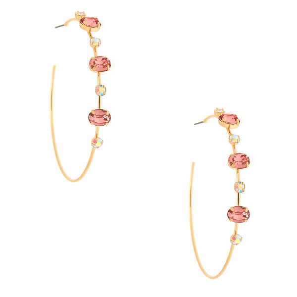 Claire's - gold 60mm opal stone hoop earrings - 1