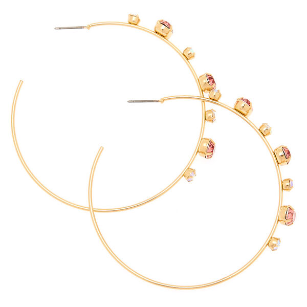 Claire's - gold 60mm opal stone hoop earrings - 2