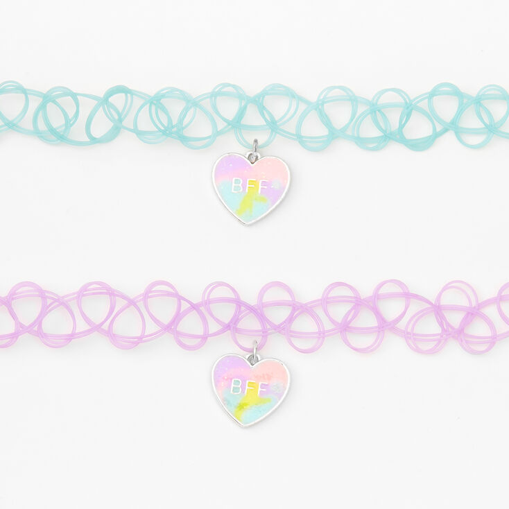 Best Friends Pastel Tie Dye Heart Tattoo Choker Necklaces - 2 Pack,
