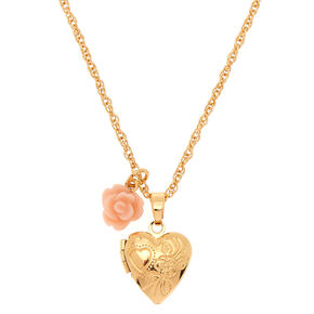 Gold Engraved  Mini Heart Locket Pendant Necklace,
