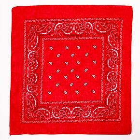 Bandeau bandana soyeux motif cachemire - Rouge,