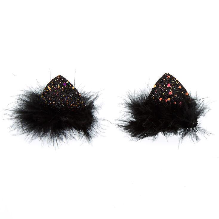 Cake Glitter Cat Ears Hair Clips - Black, 2 Pack,