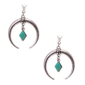 d992d1b18ea6 Pendants d oreilles avec croissant couleur argenté patiné et pierre couleur  turquoise en forme de diamant d imitation