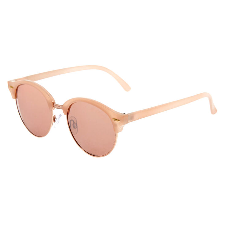 Rose Gold Tinted Mod Sunglasses - Blush,