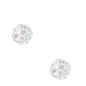 Iridescent White Fireball Stud Earrings,
