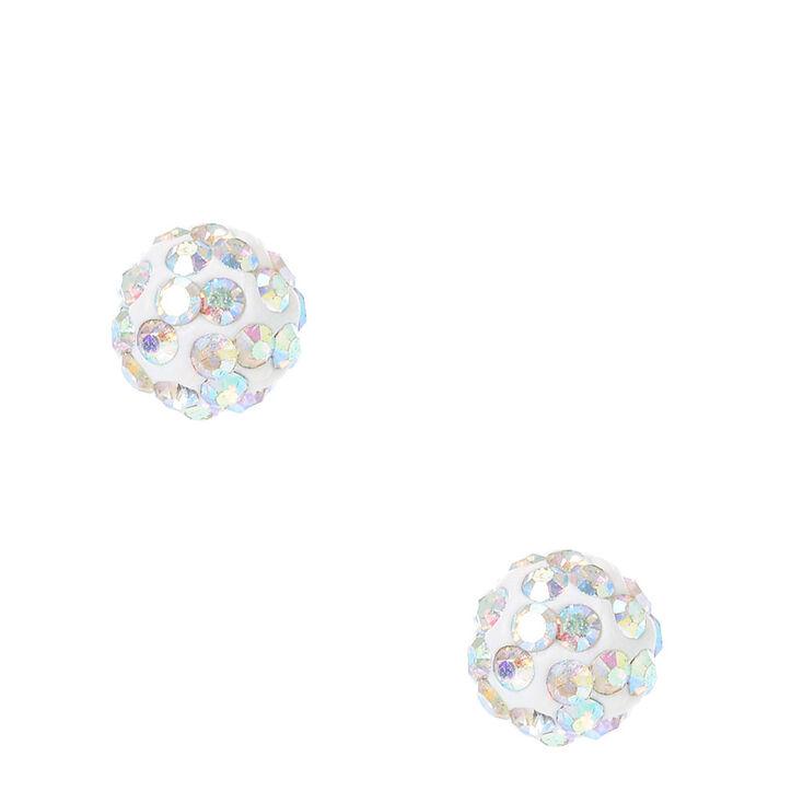 Clous d'oreilles à boules de feu blancs iridescents,