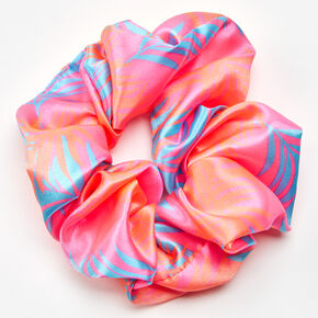 Palm Leaf Print Hair Scrunchie - Pink,