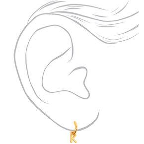 Gold 10MM Initial Huggie Hoop Earrings - K,