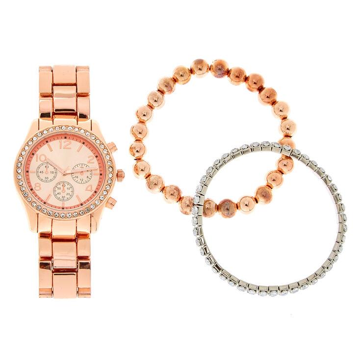 Ensemble montre et bracelet couleur doré rose et strass,