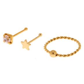 Gold Sterling Silver 22G Crystal Star Stud & Hoop Nose Rings - 3 Pack,