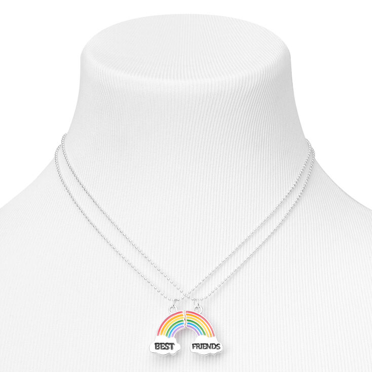 Best Friends Broken Rainbow Pendant Necklaces - 2 Pack,