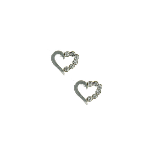 Claire's - sterling half stone heart stud earrings - 1
