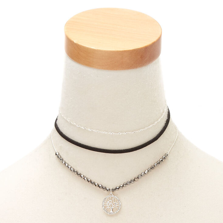 abf7bc60ec58c Silver Bead Tree of Life Choker Necklaces - 3 Pack
