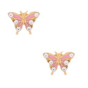 8994efce4 18kt Gold Plated Pretty Butterfly Stud Earrings - Pink