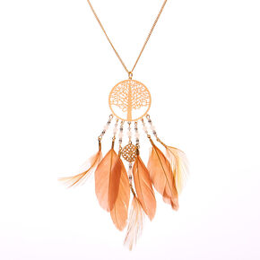 Gold Tree Of Life Dreamcatcher Long Pendant Necklace,