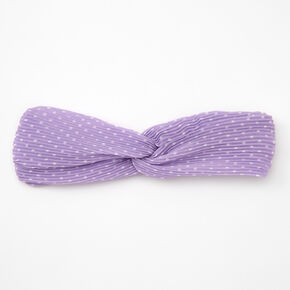 Polka Dot Pleated Twisted Headwrap - Lilac,