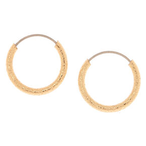 Gold 10mm Textured Hoop Earrings
