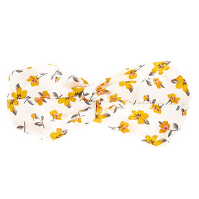 Yellow Floral Twisted Headwrap - White,