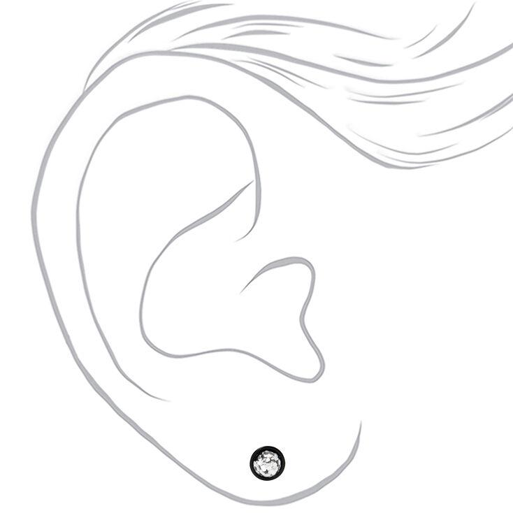 Faux écarteurs d'oreilles pailletés sirène 1,2mm couleur argentée - Noir,