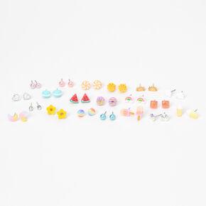 Clous d'oreilles aux designs variés arc-en-ciel pastel - Lot de 20,
