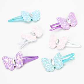 Claire's Club Glitter Butterfly Snap Hair Clips - 6 Pack,