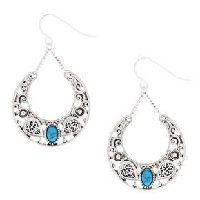 "Silver 1.5"" Western Drop Earrings - Turquoise,"