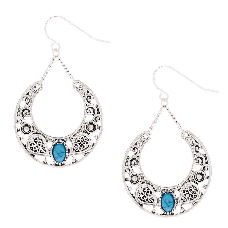 """Silver 1.5"""" Western Drop Earrings - Turquoise,"""