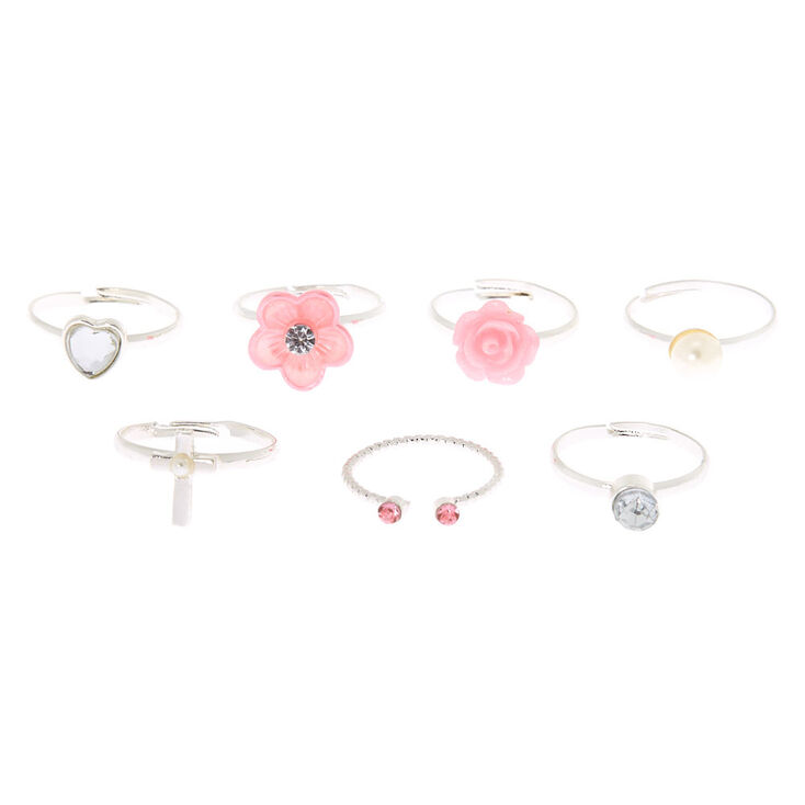 Claire's Club Diamond Box Rings - Pink, 7 Pack,