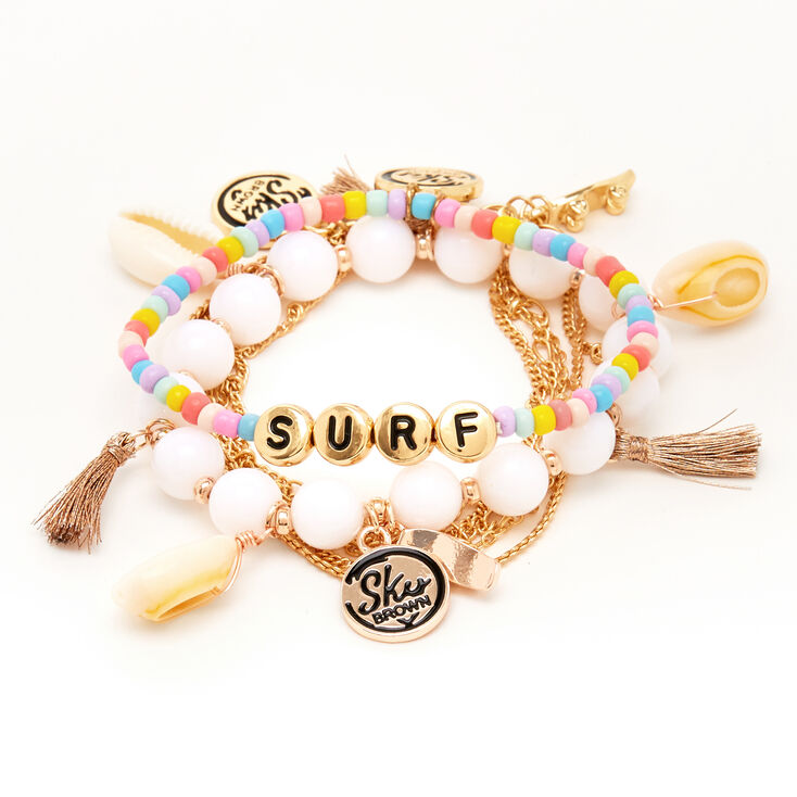 Sky Brown™ Seashell Bracelets – Rainbow, 3 pack,