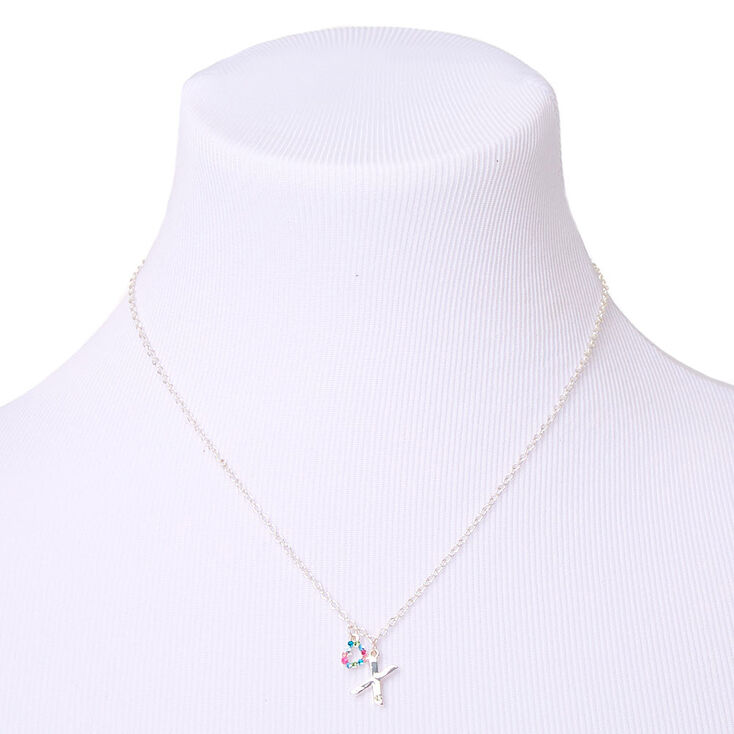 Silver Rainbow Initial Jewellery Gift Set - X, 4 Pack,