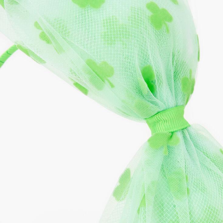 Shamrock Mesh Bow Headband - Green,