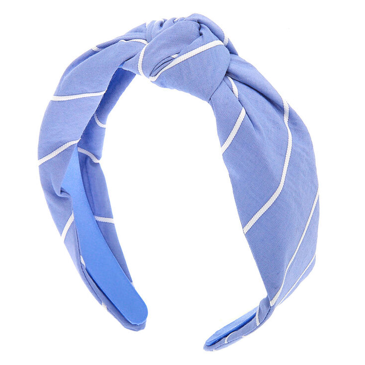 Striped Knotted Headband - Blue,