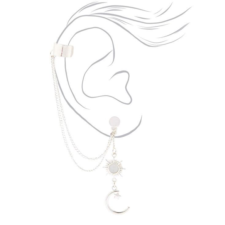 Silver Celestial Ear Connector Earrings,