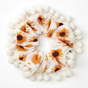 Pom Pom Trim Sunflower Hair Scrunchie - White,