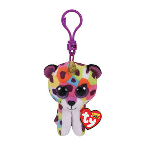 Ty Beanie Boo Giselle the Unicorn Leopard Keyring Clip,