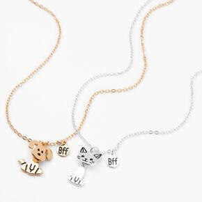 Best Friends Mixed Metal Pet Pendant Necklaces - 2 Pack,
