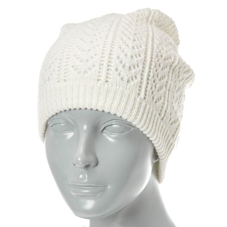 Bonnet d'hiver à motifs en tricot ivoire,