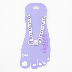 Silver Rhinestone Padlock Chain Link Anklet,