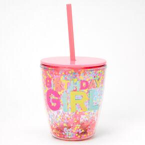 Gobelet à confettis mobiles Birthday Girl - Rose,