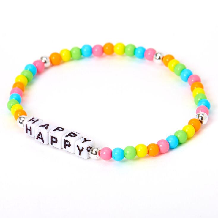 Happy Rainbow Beaded Stretch Bracelets,