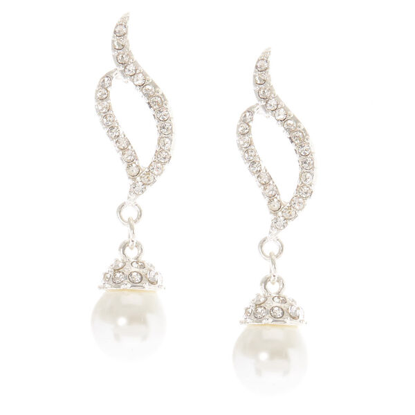 Claire's - vera glass stone pearl drop earrings - 1