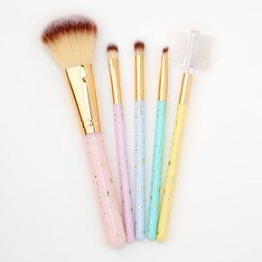 Gold Sparkle Pastel Makeup Brushes - 5 Pack,