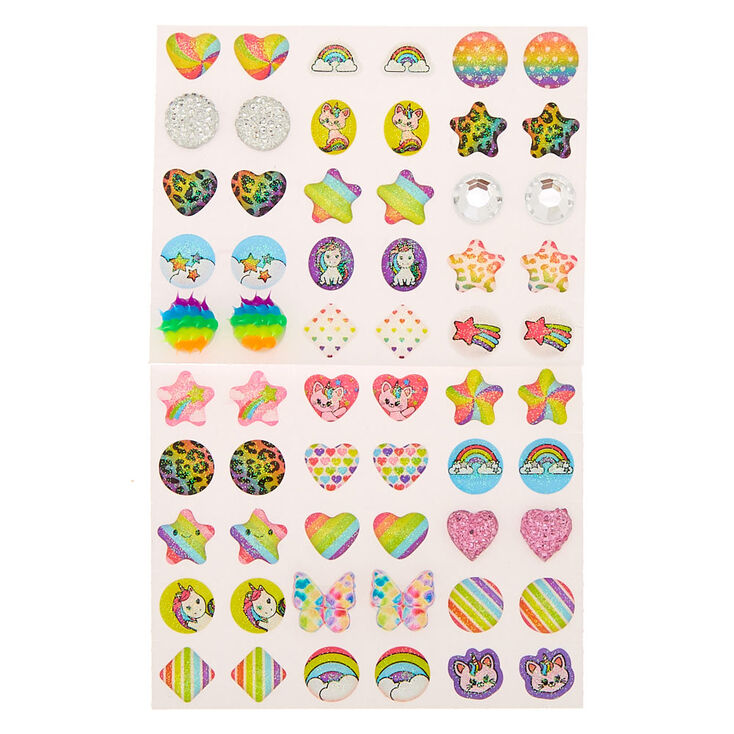 Claire's Club Rainbow Stick On Earrings - 30 Pack,