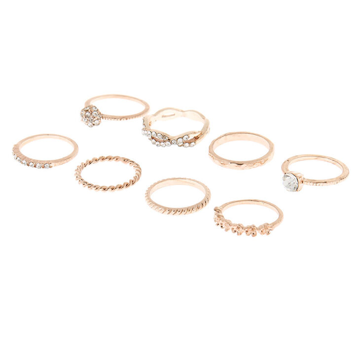 Rose Gold Glam Rings - 8 Pack,