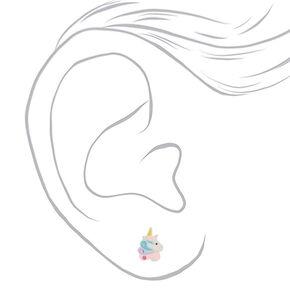 Boucles d'oreilles sorbet licorne en argent,