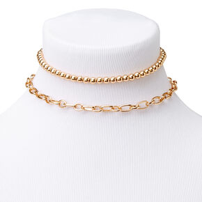 Gold Bead & Chain Link Multi Strand Choker Necklace,