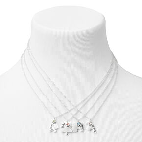 Best Friends Silver Heart Pendant Necklaces - 4 Pack,
